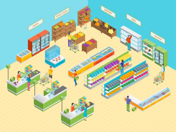 ilustrações de stock, clip art, desenhos animados e ícones de supermarket or shop interior with furniture isometric view. vector - prateleira compras