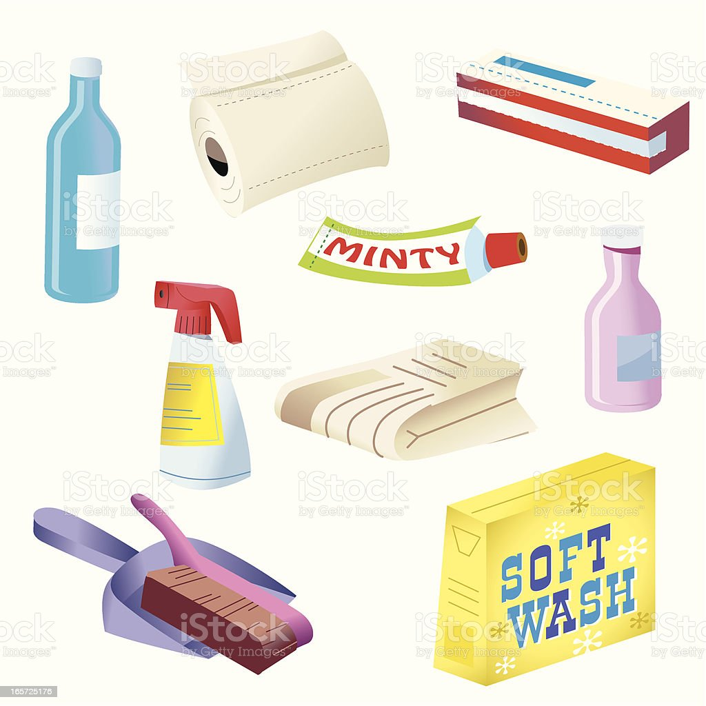 Supermarket products vector art illustration