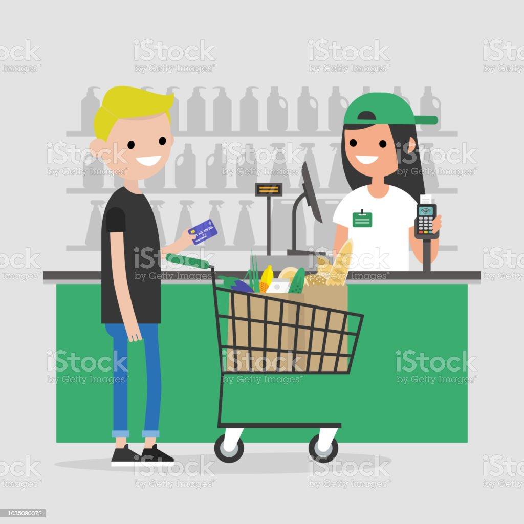 スーパー マーケットのレジ台レジ食料品店クレジット カードで支払いを