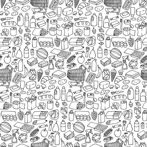 Supermarket seamless pattern Seamless pattern with doodle hand drawn supermarket elements and objects. grocery store stock illustrations