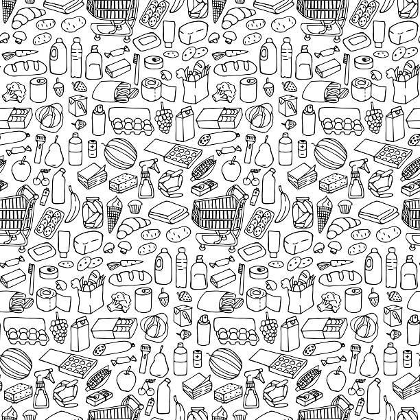 ilustraciones, imágenes clip art, dibujos animados e iconos de stock de supermarket seamless pattern - grocery store