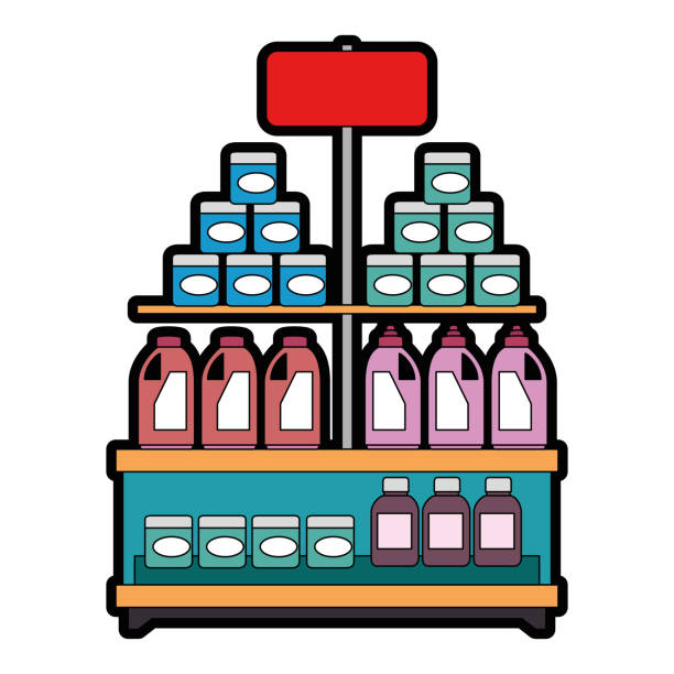 bildbanksillustrationer, clip art samt tecknat material och ikoner med stormarknad hylla med produkter - dagligvaruhandel, hylla, bakgrund, blurred