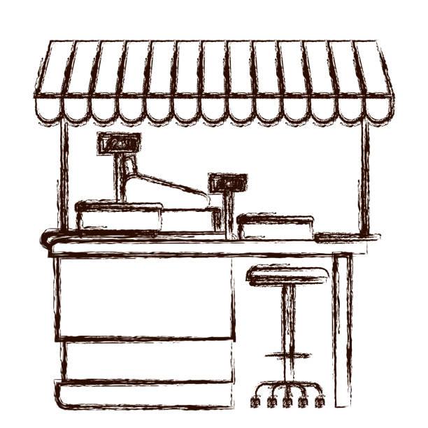 bildbanksillustrationer, clip art samt tecknat material och ikoner med stormarknad hylla med interventionsortens maskin och kassaregister med solskydd i brun suddig siluett - dagligvaruhandel, hylla, bakgrund, blurred