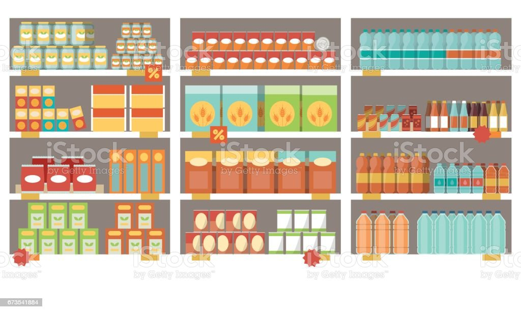Supermarket shelves vector art illustration