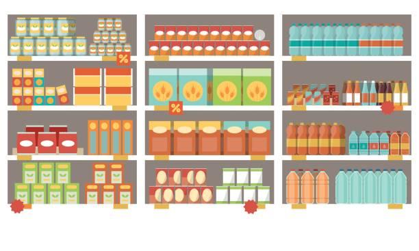 ilustrações de stock, clip art, desenhos animados e ícones de supermarket shelves - prateleira compras