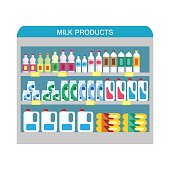 Supermarket shelves with dairy products. Vector illustration in flat style.