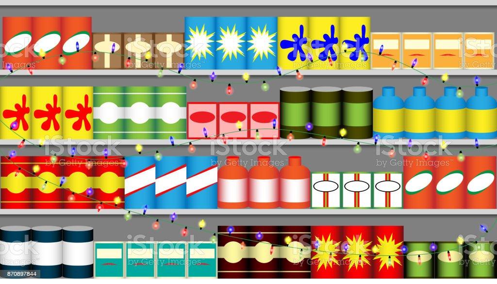 Supermarket Shelves With Garlands Stock Illustration ...