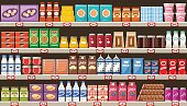 Supermarket, shelves with products and drinks