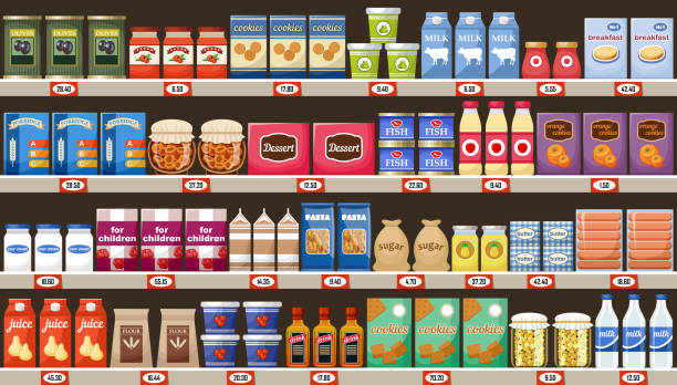 ilustraciones, imágenes clip art, dibujos animados e iconos de stock de estantes del supermercado, con productos y bebidas - grocery store