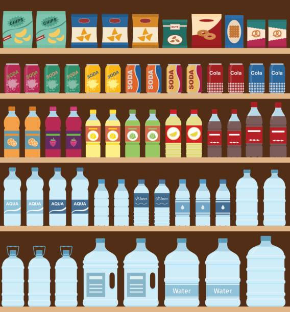 Supermarket shelves with snacks and drinks. vector art illustration