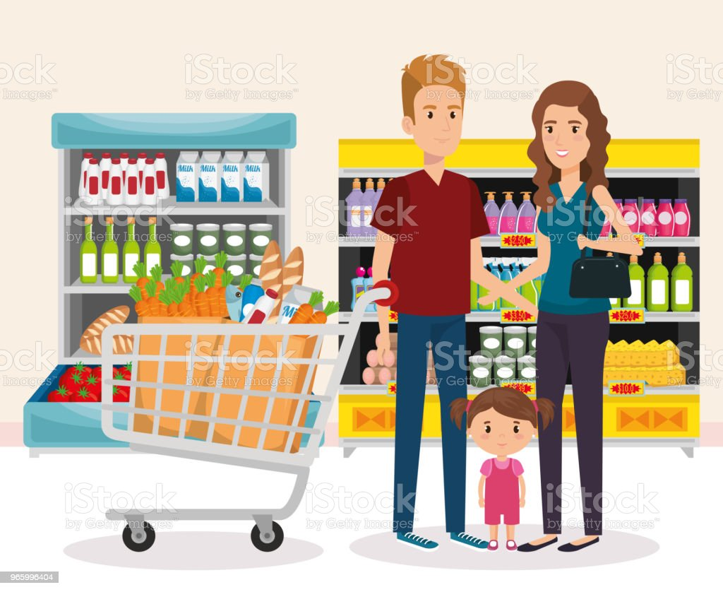 supermarket shelvings with family buying - Royalty-free Adult stock vector