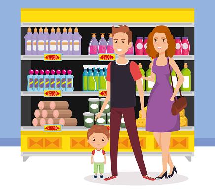 Supermarktregale Mit Familie Kaufen Stock Vektor Art und mehr Bilder von Ausverkauf