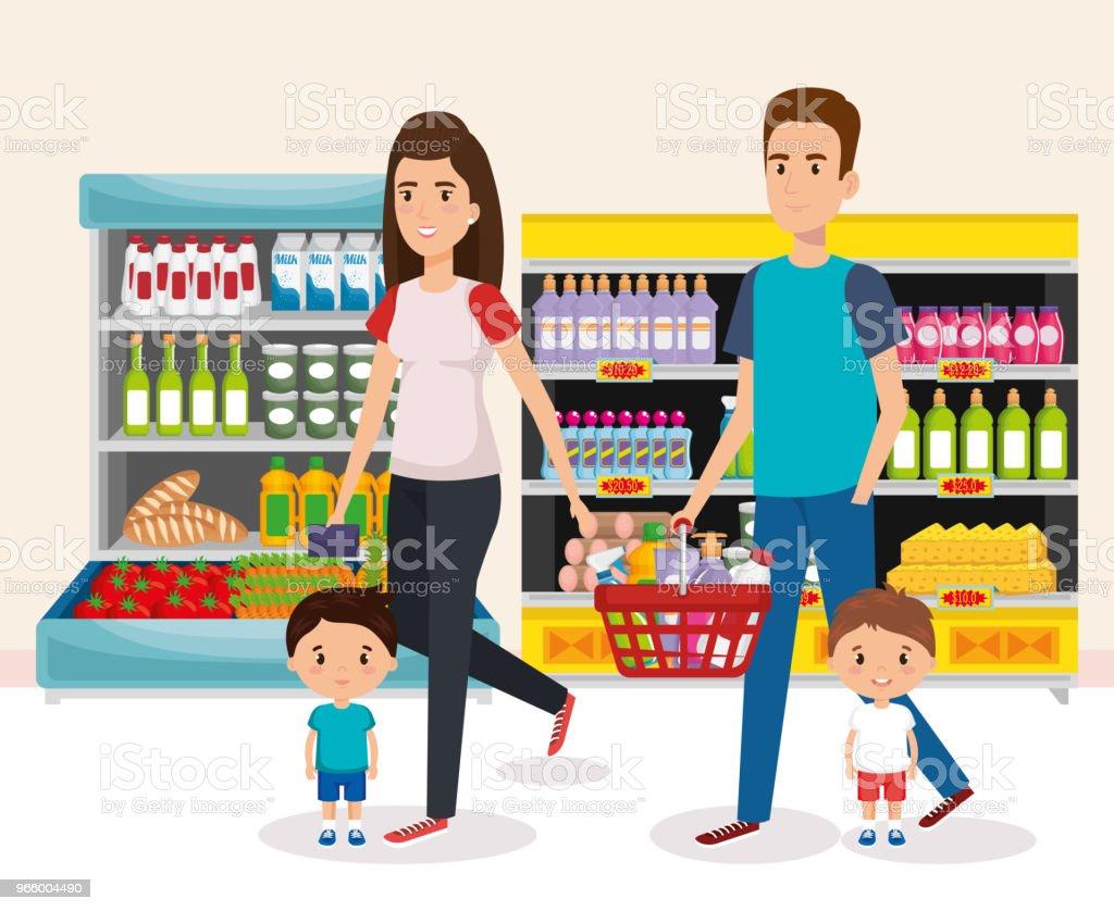 Supermarkt-Regale mit Familie kaufen - Lizenzfrei Ausverkauf Vektorgrafik