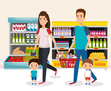 Supermarkt Shelvings Met Het Kopen Van De Familie Stockvectorkunst en meer beelden van Achtergrond - Thema