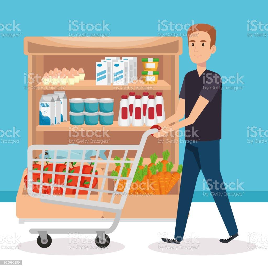 Supermarkt-Regale mit Mann kaufen - Lizenzfrei Ausverkauf Vektorgrafik