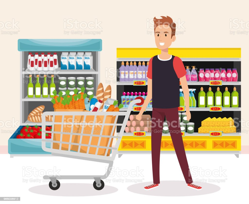 supermarket shelvings with man buying - Royalty-free Adult stock vector