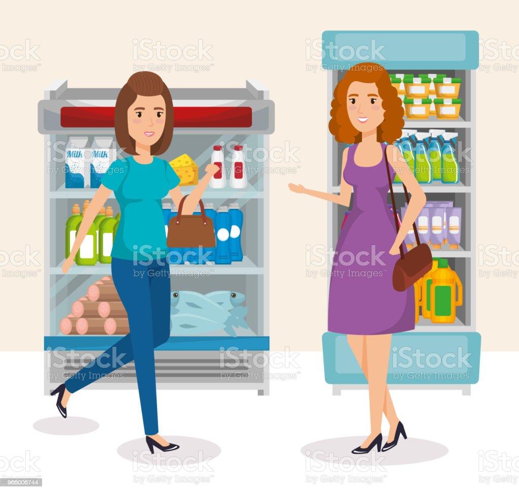 supermarkt shelvings met mensen kopen - Royalty-free Achtergrond - Thema vectorkunst
