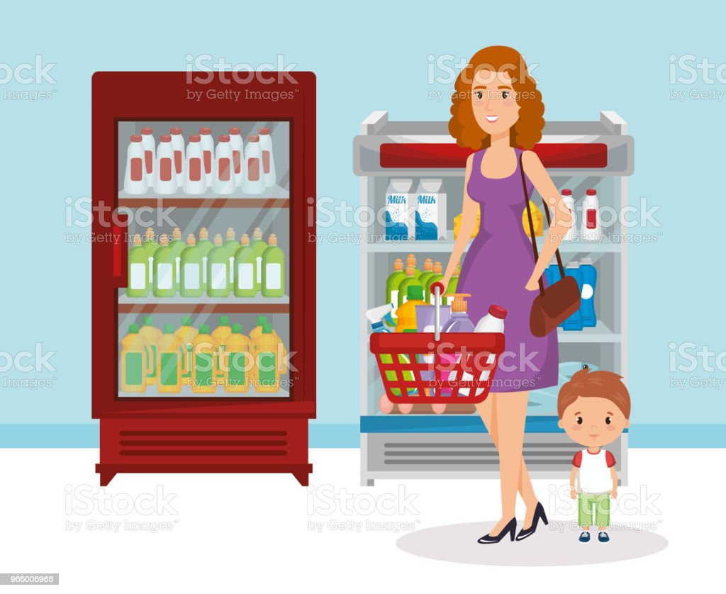 Supermarkt-Regale mit Frau kaufen - Lizenzfrei Ausverkauf Vektorgrafik