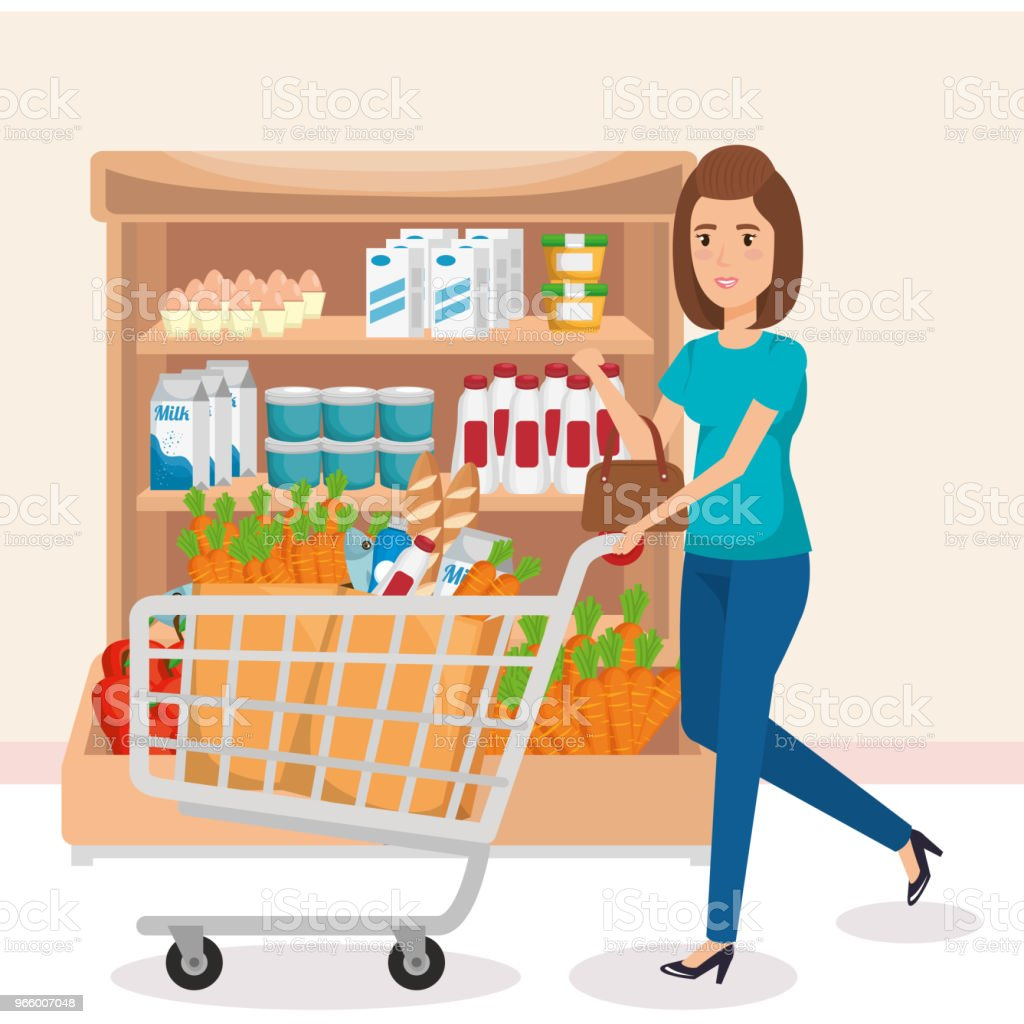 supermarket shelvings with woman buying - Royalty-free Adult stock vector