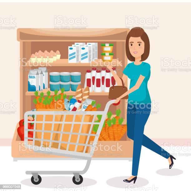 Supermarktregale Mit Frau Kaufen Stock Vektor Art und mehr Bilder von Ausverkauf
