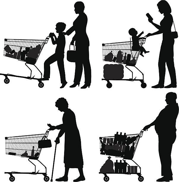 Supermarket shoppers vector art illustration