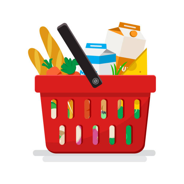 Supermarket. Shopping basket with groceries. Vector illustration Supermarket. Shopping basket with groceries. Vector illustration shopping basket stock illustrations
