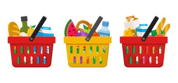 supermarket. shopping baskets with foods. vector - kosz na zakupy stock illustrations