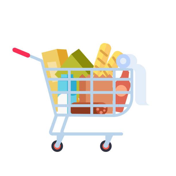 stockillustraties, clipart, cartoons en iconen met supermarkt winkelwagentje. - winkelwagentje