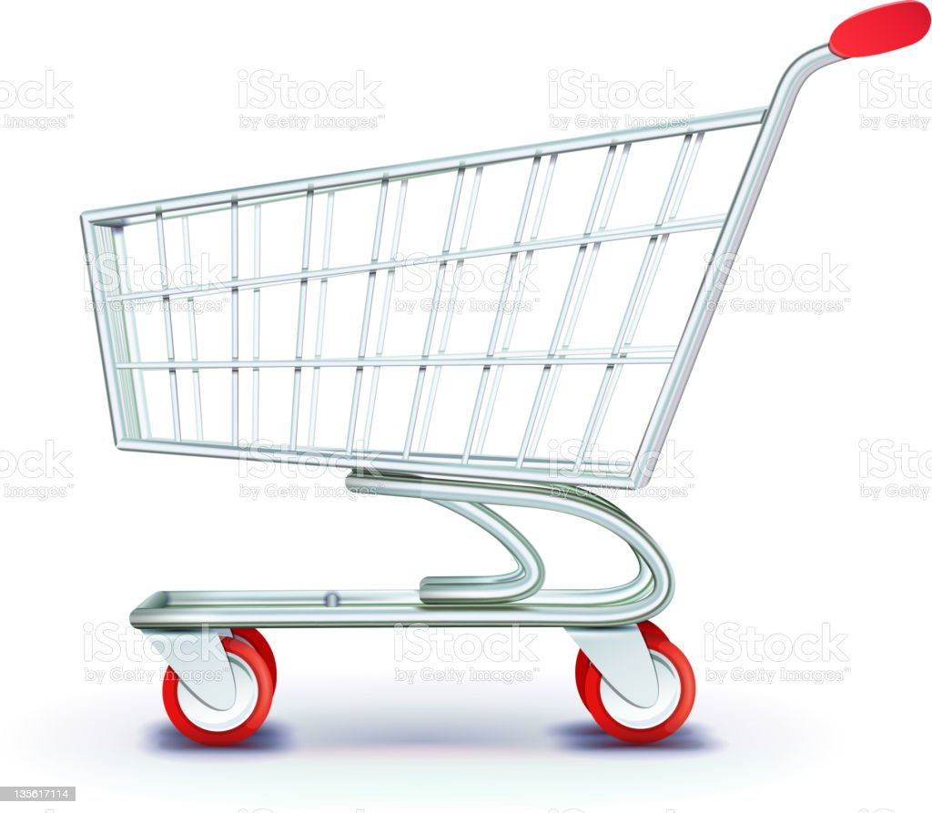 supermarket shopping cart vector art illustration