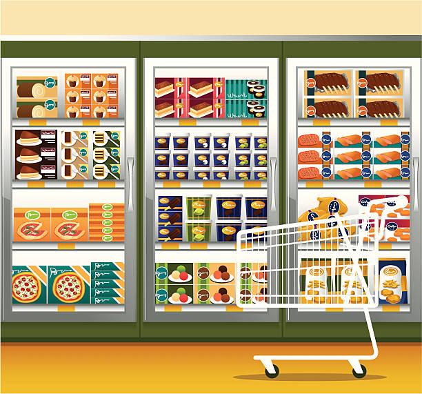 ilustrações, clipart, desenhos animados e ícones de supermercado & carrinho de compras - comida congelada