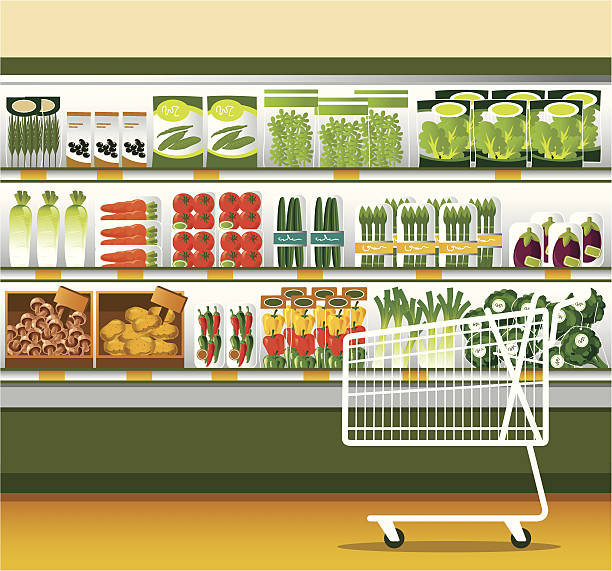 illustrazioni stock, clip art, cartoni animati e icone di tendenza di supermercato & carrello acquisti - prodotti supermercato