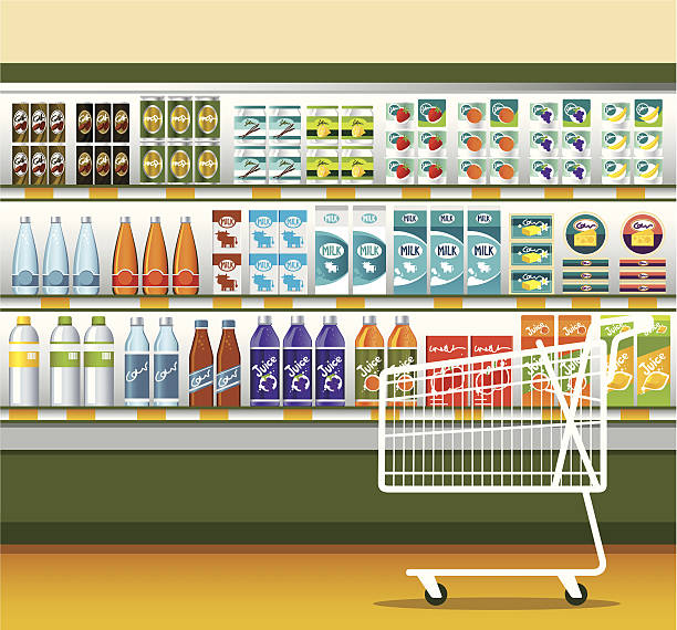 Supermarket & shopping cart vector art illustration