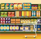 Supermarket and shopping cart, with different kinds of food packaging. Zip contains AI, PDF and hi-res jpeg. Related Files: