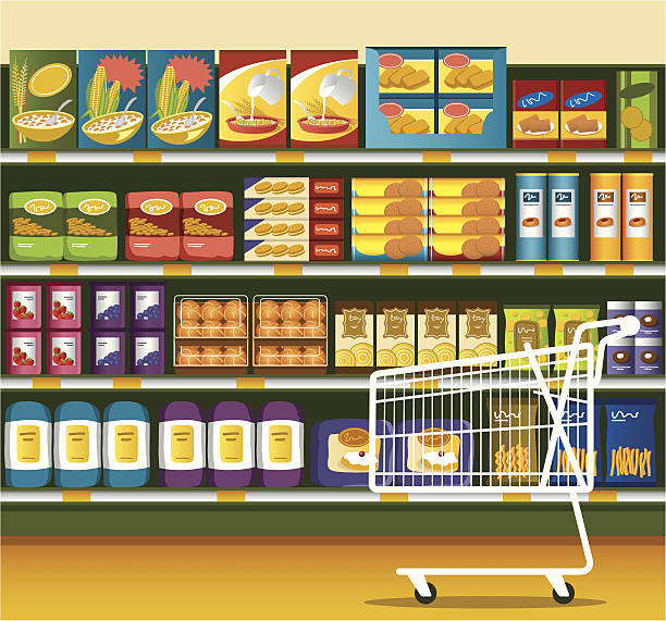 ilustrações de stock, clip art, desenhos animados e ícones de supermercado & carrinho de compras - prateleira compras