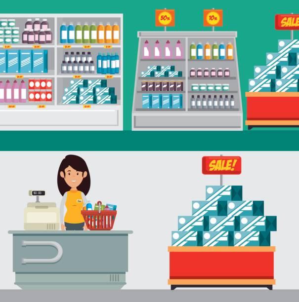 bildbanksillustrationer, clip art samt tecknat material och ikoner med butikskonceptet store konsumism - dagligvaruhandel, hylla, bakgrund, blurred