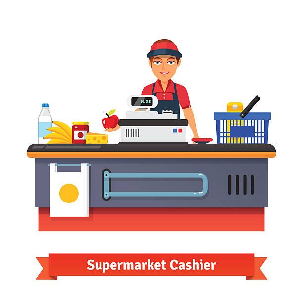 Supermarkt store-Theke Schreibtisch Ausstattung und clerk – Vektorgrafik