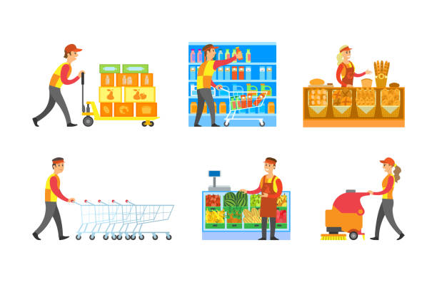 ilustrações de stock, clip art, desenhos animados e ícones de supermarket store departments workers set vector - supermarket worker