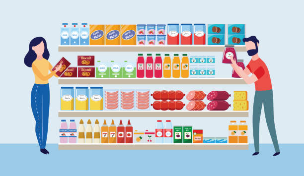 Supermarket store interior with goods and buyers the flat vector illustration. Supermarket store interior with goods and buyers characters the flat cartoon vector illustration. Big shopping mall grocery shelves with drinks, food and dairy products. grocery aisle stock illustrations