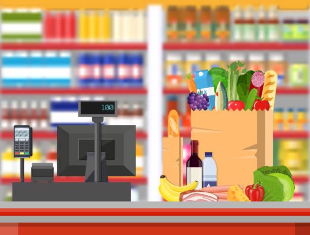 bildbanksillustrationer, clip art samt tecknat material och ikoner med stormarknad butik interiör med varor. - dagligvaruhandel, hylla, bakgrund, blurred