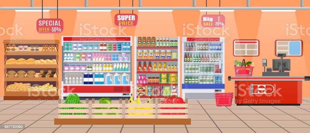 Supermarket store interior with goods. vector art illustration