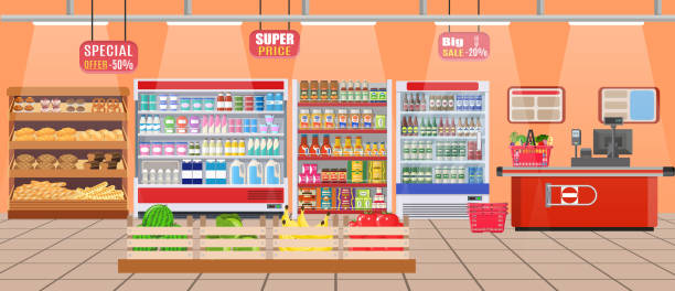 ilustrações de stock, clip art, desenhos animados e ícones de supermarket store interior with goods. - prateleira compras