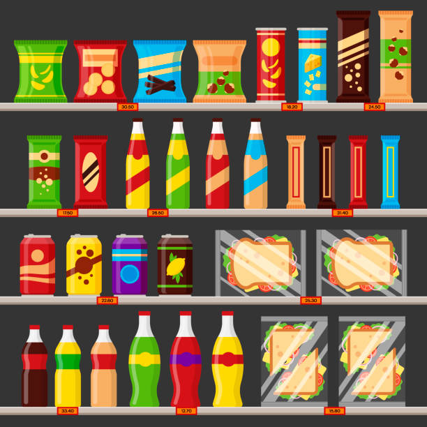 Supermarket, store shelves with groceries products. Fast food snack and drinks with price tags on the racks - flat vector illustration Supermarket, store shelves with groceries products. Fast food snack and drinks with price tags on the racks - flat vector illustration. grocery aisle stock illustrations