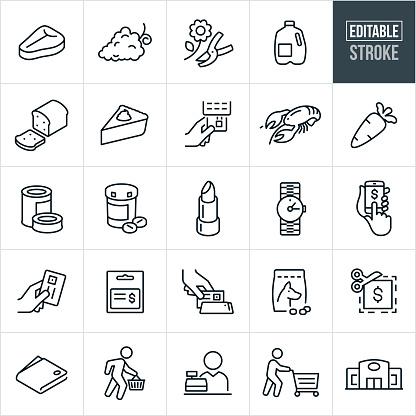 Supermarket Thin Line Icons - Editable Stroke