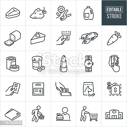 A set of supermarket icons that include editable strokes or outlines using the EPS vector file. The icons include a supermarket or grocery store, customers shopping and items representing the different department in a supermarket such as, steak for meat department, a cut flower for the floral department, grapes for produce department, milk for dairy department, bread and pie for the bakery, lobster for seafood, canned food, pill bottle for pharmacy, lipstick for cosmetics, dog food for the pet department and a watch for the jewelry department. They also include a person pre-ordering from their phone, a credit card, gift card, credit card being swapped, coupon, wallet and cashier.