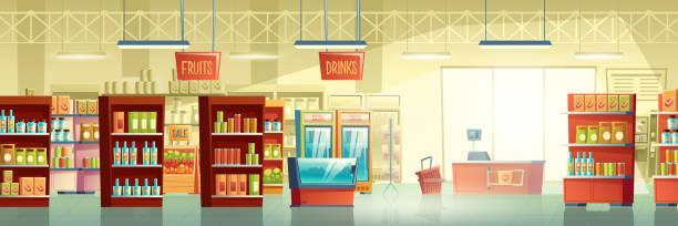 illustrazioni stock, clip art, cartoni animati e icone di tendenza di interno vettoriale in cartone della sala commerciale del supermercato - banchi di pesci