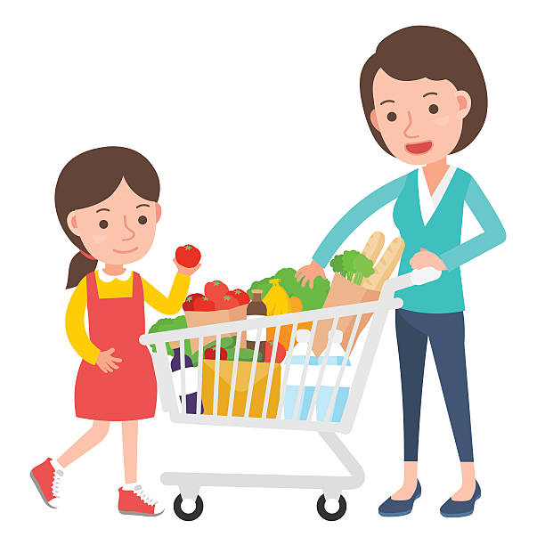 supermarket trolley. - family home stock illustrations