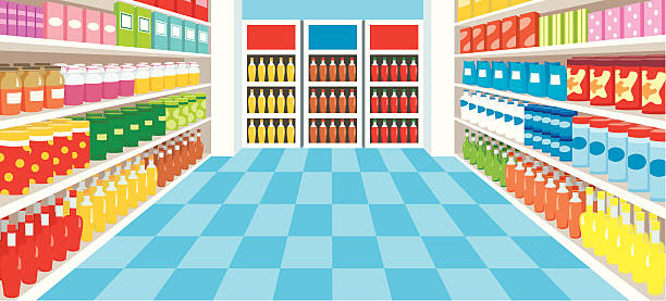 Supermarket vector, color full, no gradient grocery aisle stock illustrations