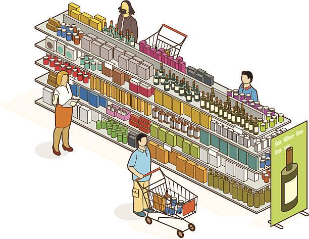 supermarkt - kastenständer stock-grafiken, -clipart, -cartoons und -symbole