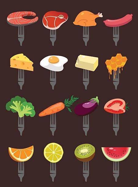 bildbanksillustrationer, clip art samt tecknat material och ikoner med supermarket - fläsk biff kyckling