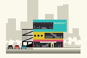 Supermarket on the roadside. Store banner in flat style. Vector illustration.